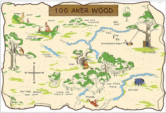 RoomMates Wallsticker Wood Map