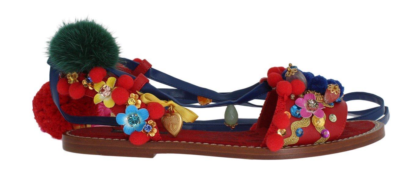 Dolce & Gabbana Women's Pom Pom Leather Crystal Sandals Multicolor LA3036 - EU36/US5.5