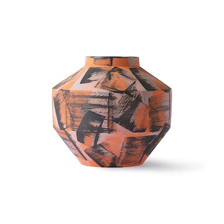 Håndmalt Ceramic Vase Orange/Black