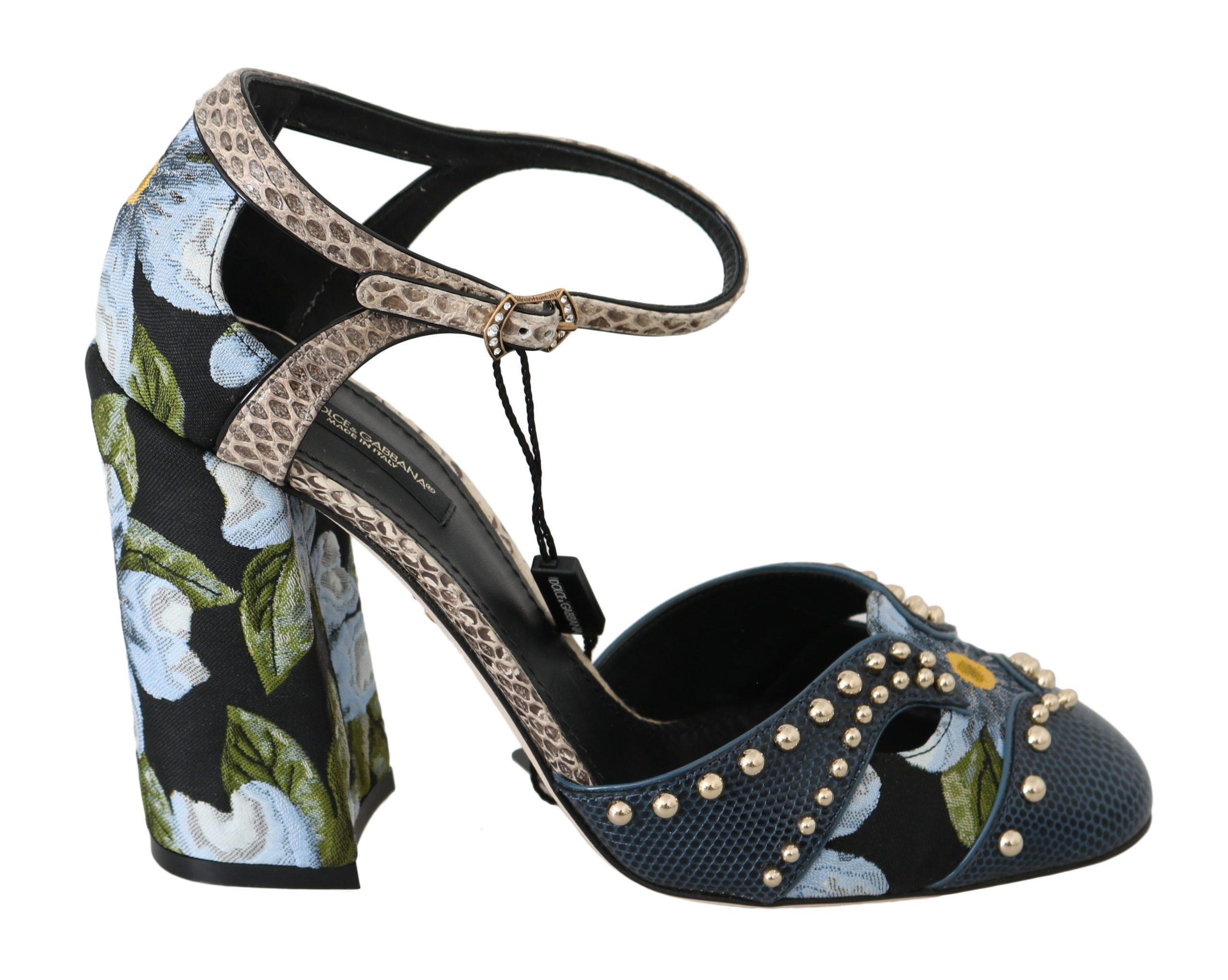 Dolce & Gabbana Women's Heels Jacquard Crystal Leather Pumps Black LA6266 - EU36/US5.5