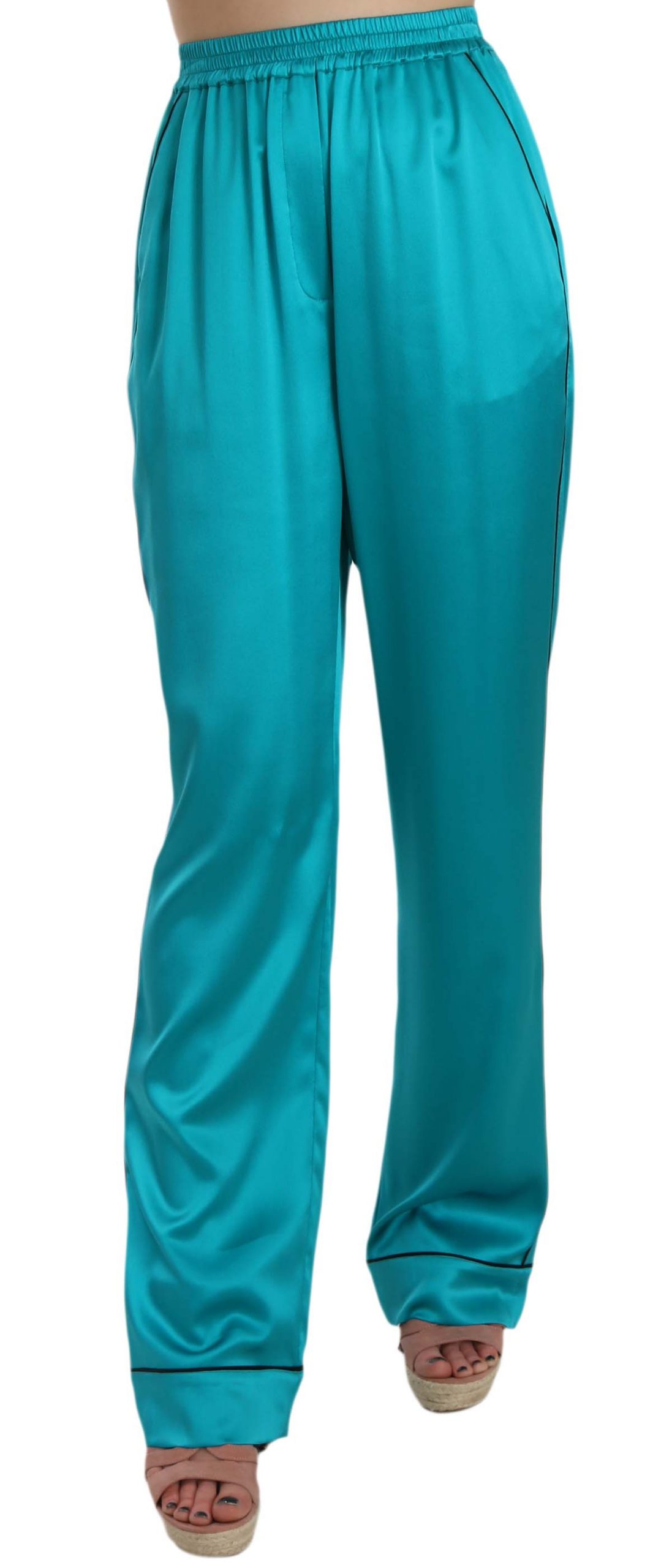 Dolce & Gabbana Women's Silk Stretch Trouser Blue BYX1328 - IT40|S