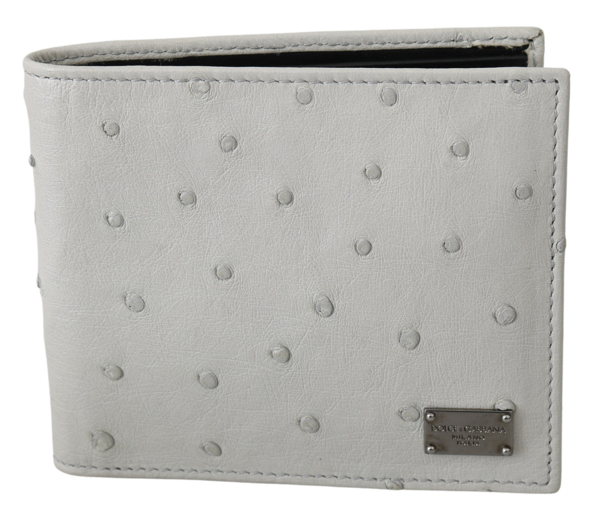 Dolce & Gabbana Men's Ostrich Leather Bifold Card Bill Slot Wallet White VAS9689