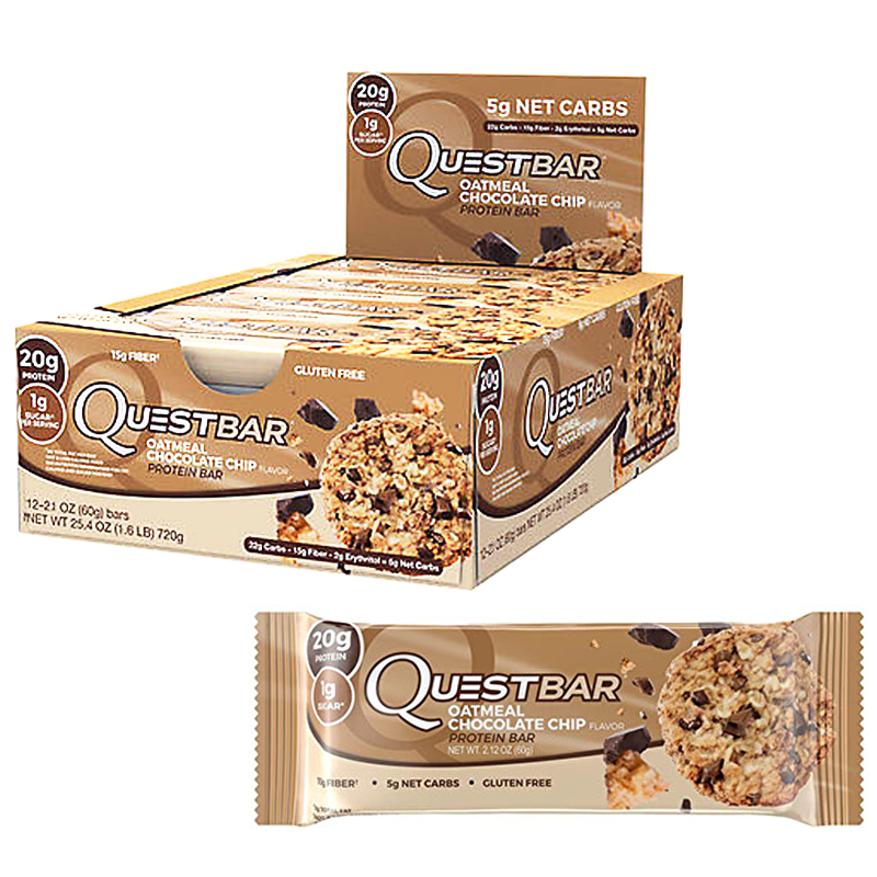 "Hel Låda Proteinbars ""Oatmeal Chocolate Chip"" 12 x 60g - 47% rabatt"