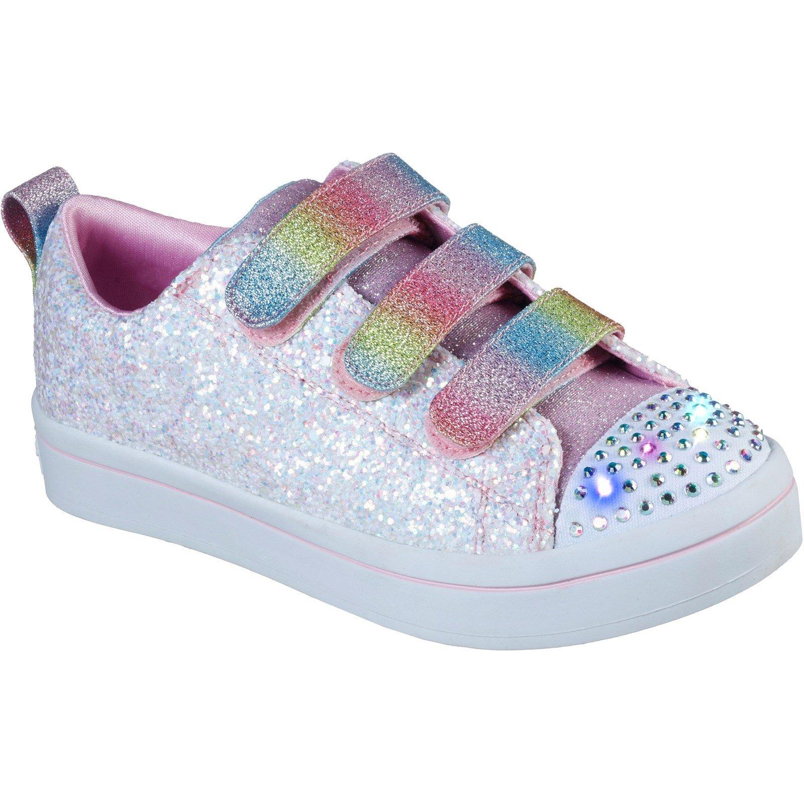 Skechers Kid's Twi-Lites Glitter Glitz Trainer Multicolor 31895 - White/Multi 10.5
