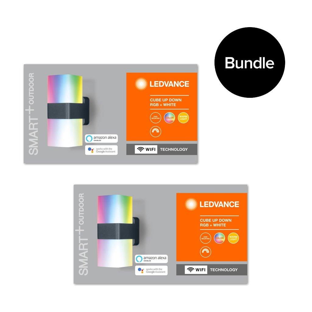 Ledvance - 2xSmart+ Outdoor Cube Wi-Fi UpDown RGBW Wall Light - Bundle