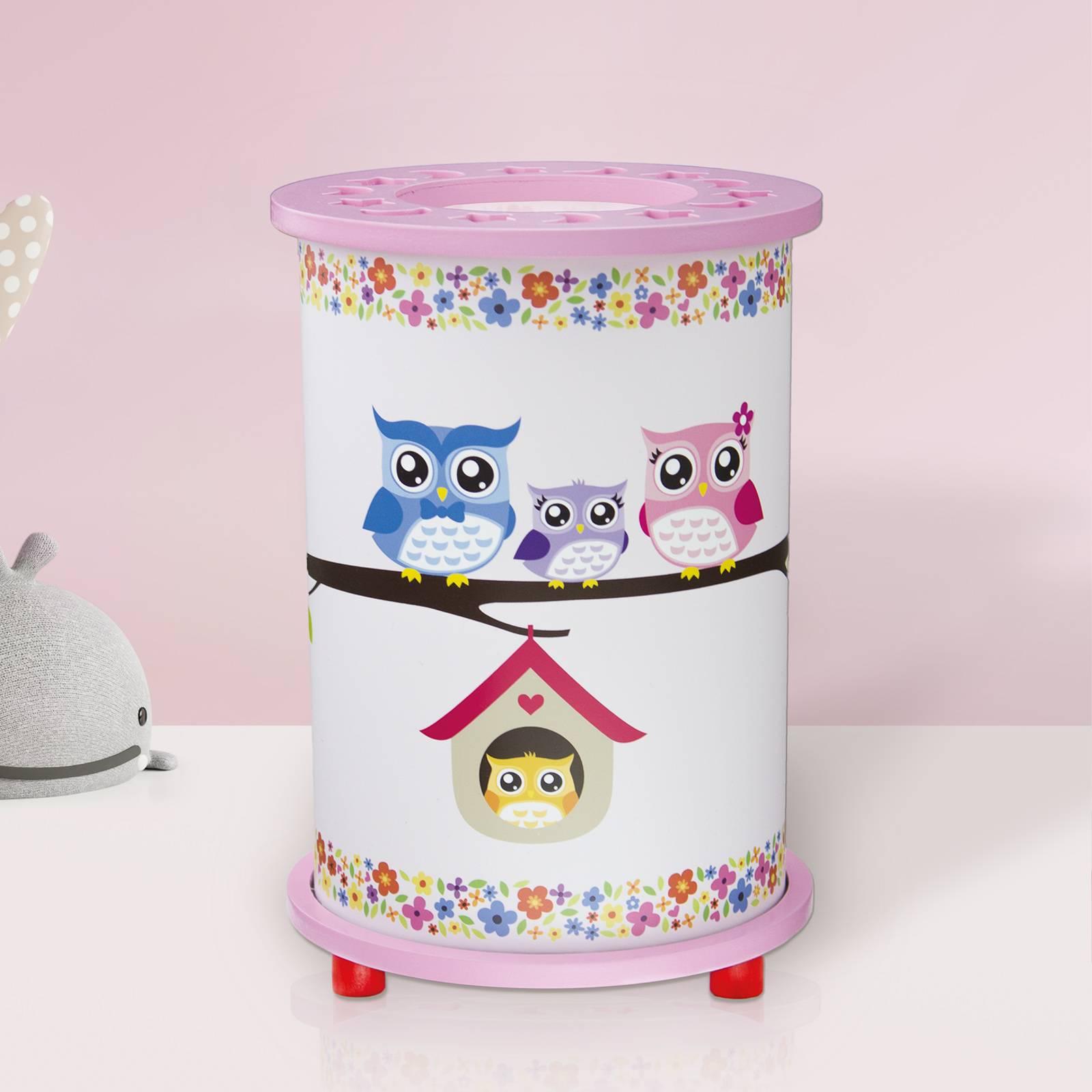 Pöllö-pöytälamppu lastenhuoneeseen valkoinen/roosa