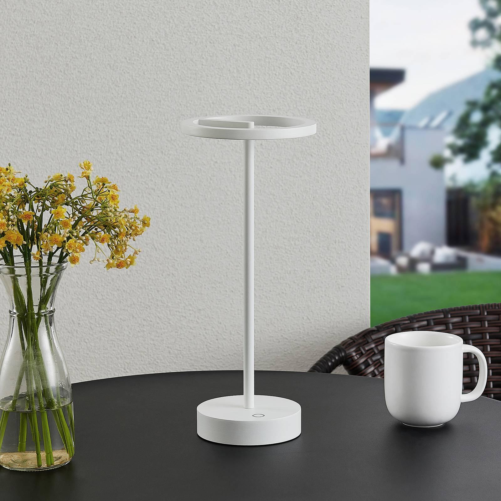 Lucande Halona -LED-pöytälamppu, USB, valkoinen
