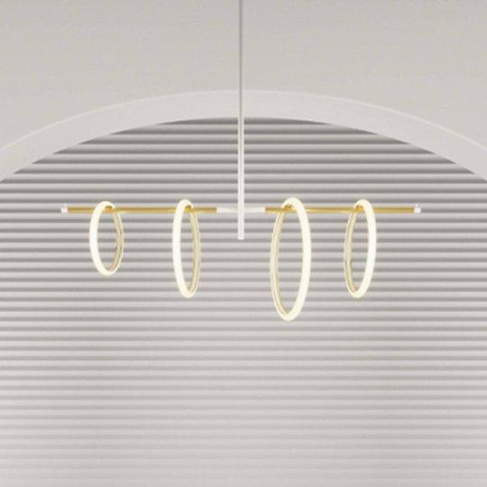 LED-hengelampe Ulaop, fire ringer, hvit