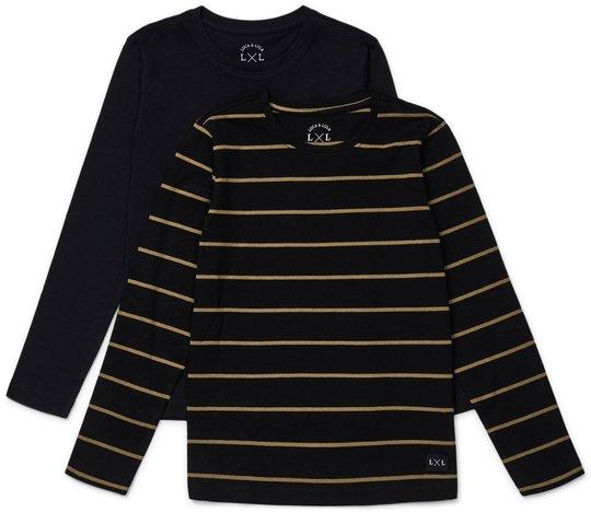 Luca & Lola Abel Langermet T-Shirt 2-pack, Black/Stripes 134-140