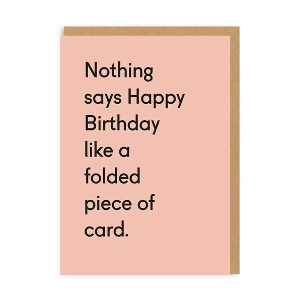 Folded Piece Of Card Birthday Greeting Card
