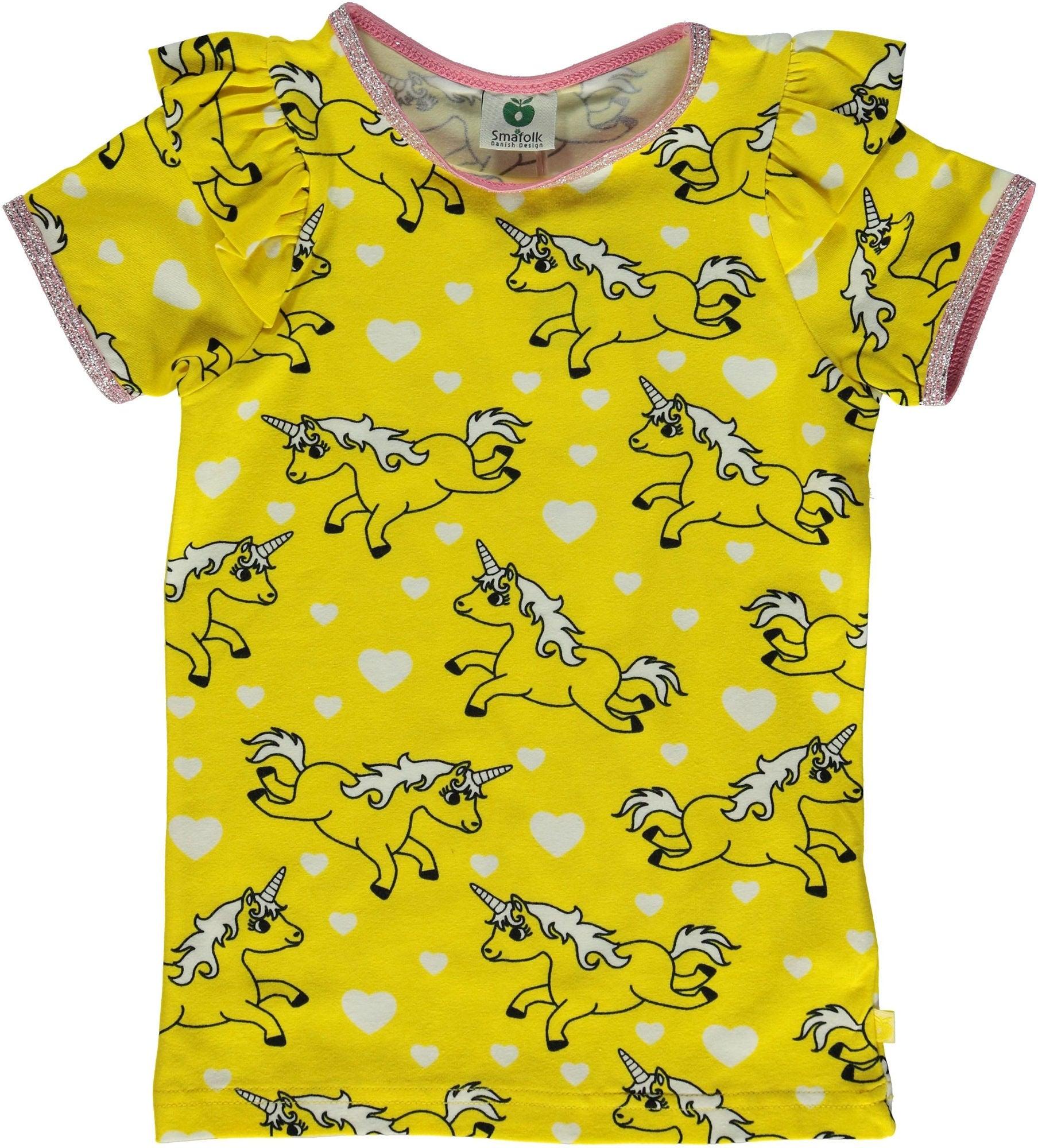 Småfolk Enhörning T-Shirt, Yellow, 2-3 År