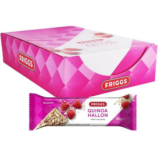 Laatikollinen Pähkinäpatukoita Kvinoa & Vadelma 18 x 35g - 57% alennus