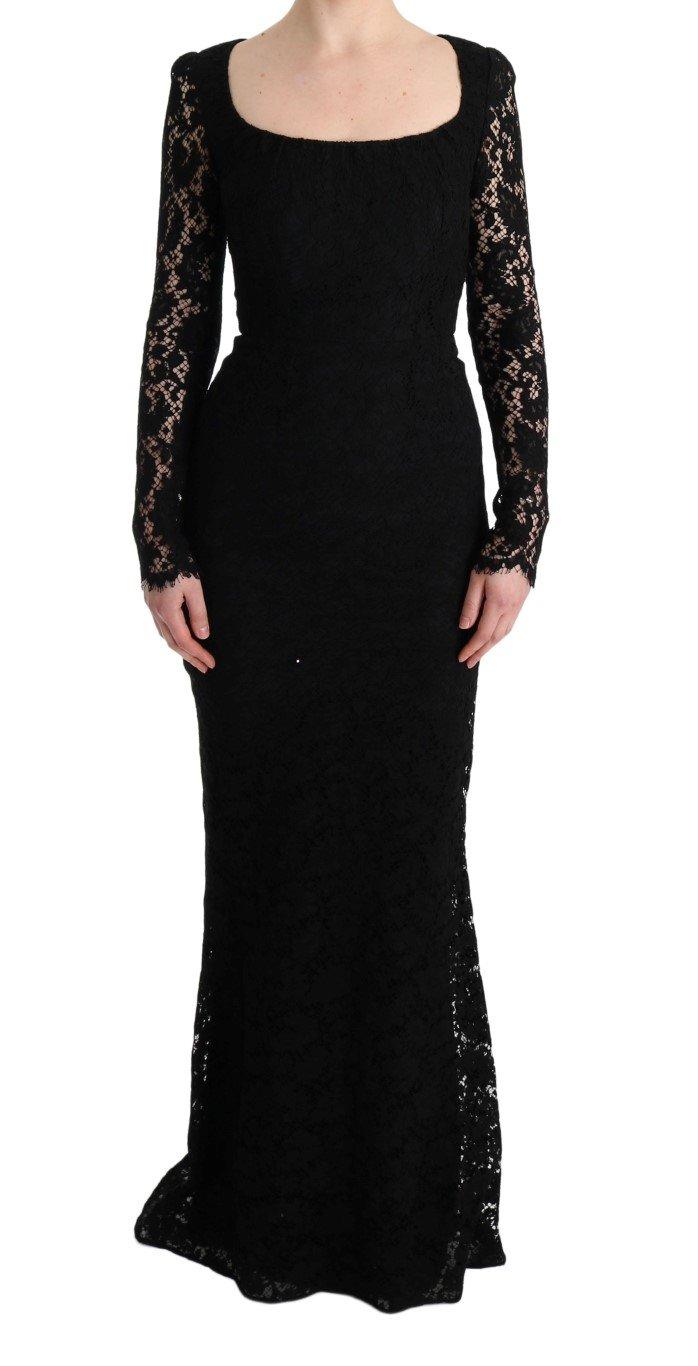 Dolce & Gabbana Women's Floral Lace Sheath Long Dress Black SIG60572 - IT36 | XS