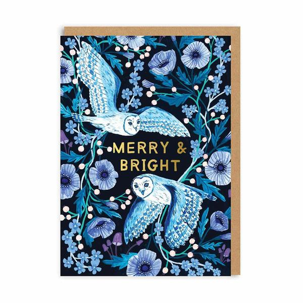 Owl Merry and Bright Christmas Card