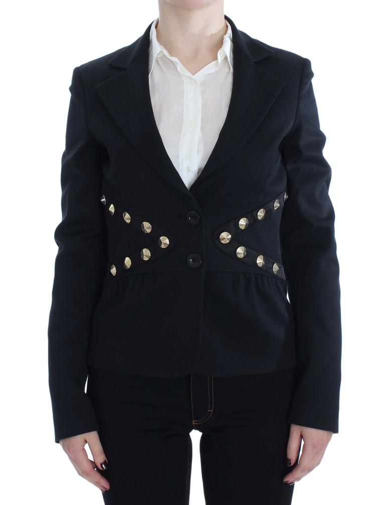 Exte Women's Cotton Stretch Studded Blazer Black SIG30910 - IT44|L