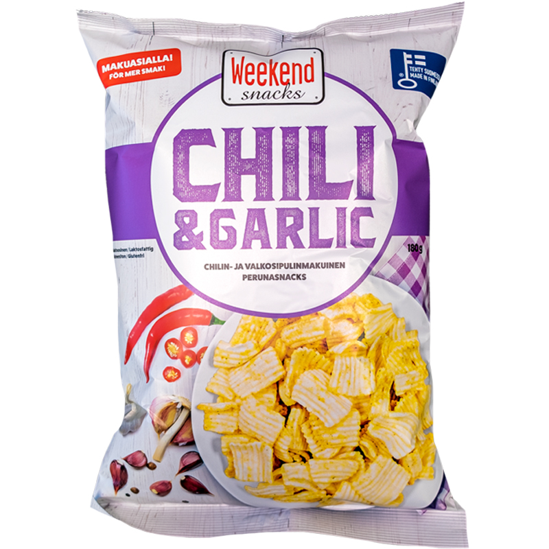 Perunasnacks Chili & Garlic - 22% alennus