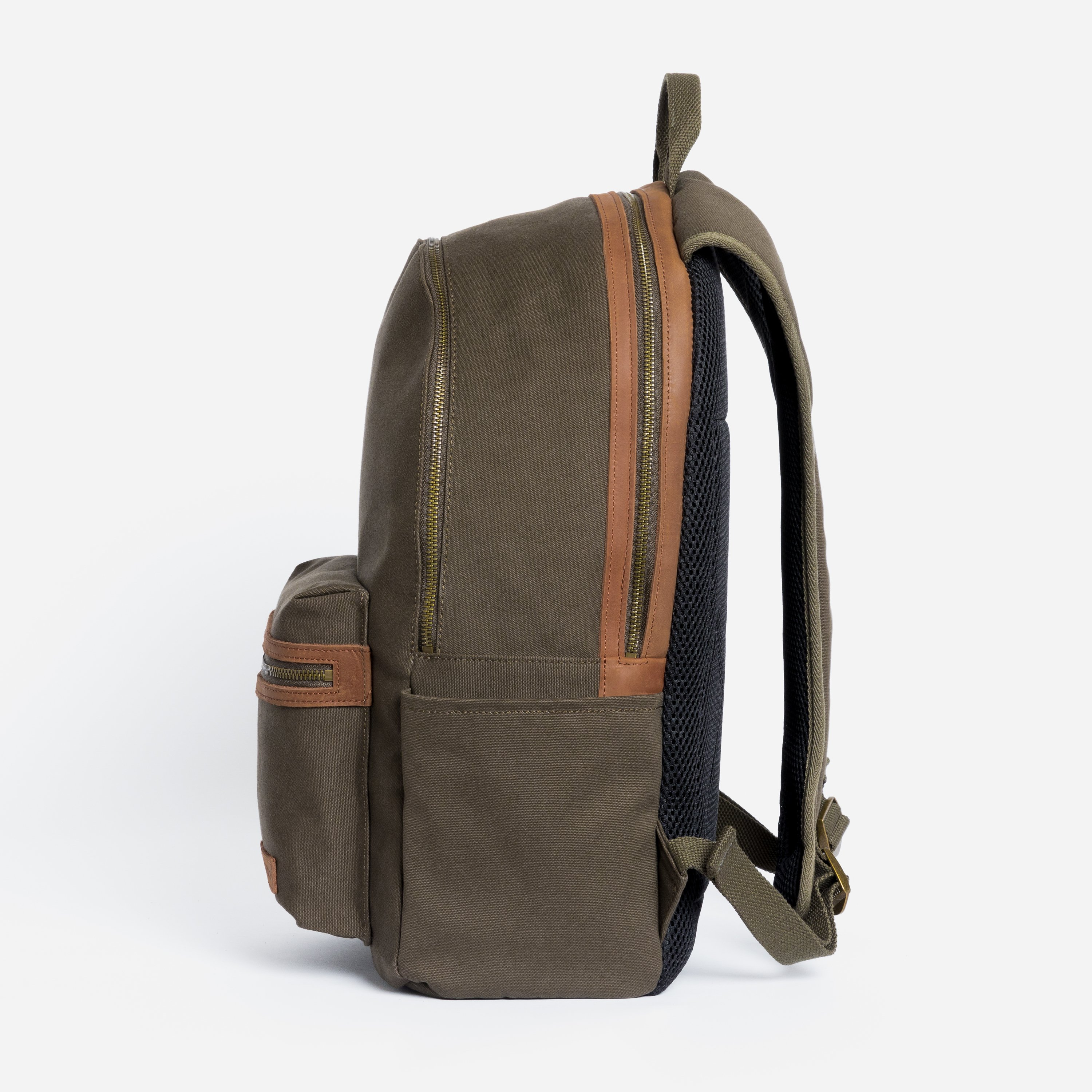"""The Commuter Backpack. Waterproofed Canvas and Leather. 16"""" Laptop Pocket., Olive"""