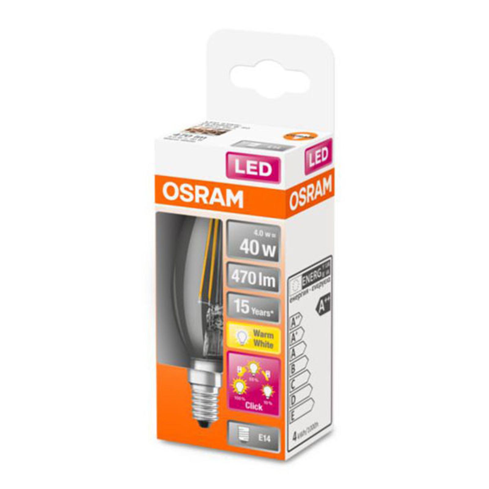 OSRAM Classic B -LED-lamppu E14 4W 827 3-Step-dim