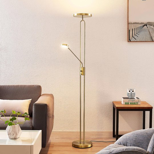 Lindby Twina -LED-lattiavalo, messinki
