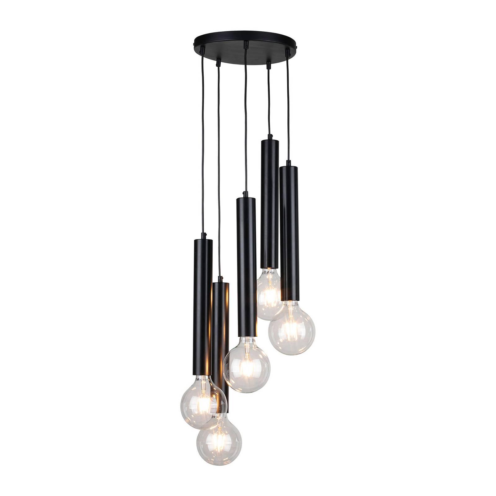 Riippuvalaisin, Lecy, pyöreä, musta, 5-lamppuinen