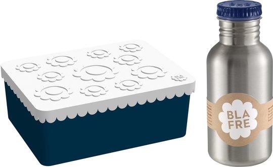Blafre Matboks Blomster & Stålflaske 500 ml, Mørkeblå