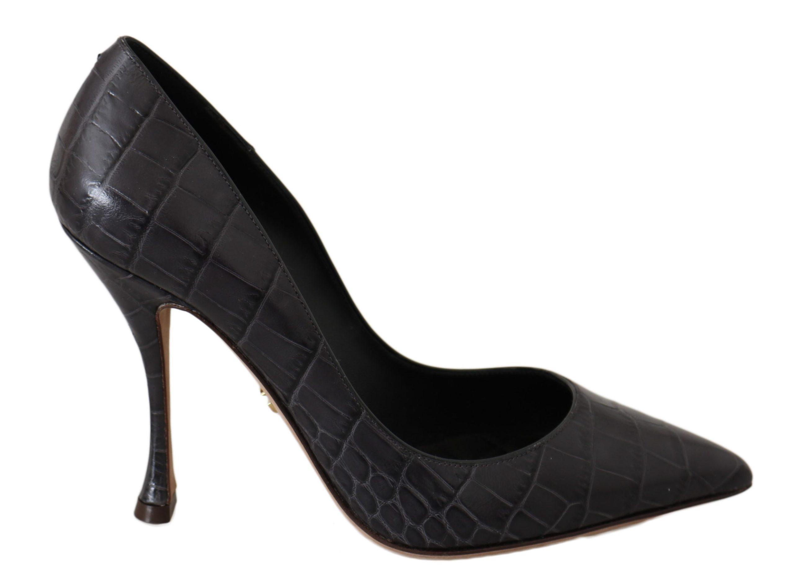 Dolce & Gabbana Women's Leather Heels Pumps Heels Gray LA5984 - EU35/US4.5