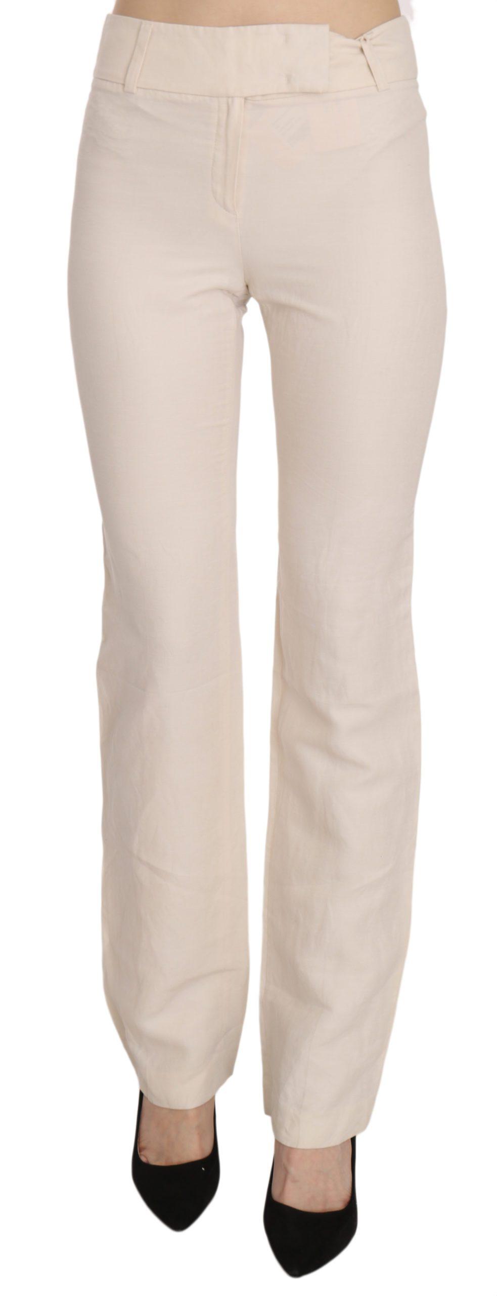 LAUREL Women's High Waist Silk Blend Flared Trouser White PAN70225 - IT36|XXS