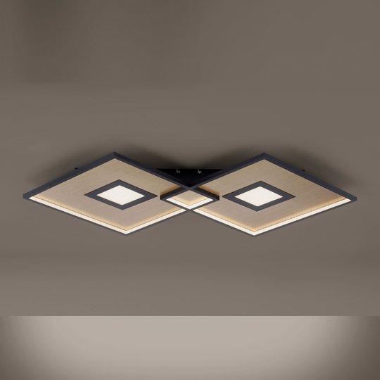 LED-taklampe Amara, to firkanter, svart