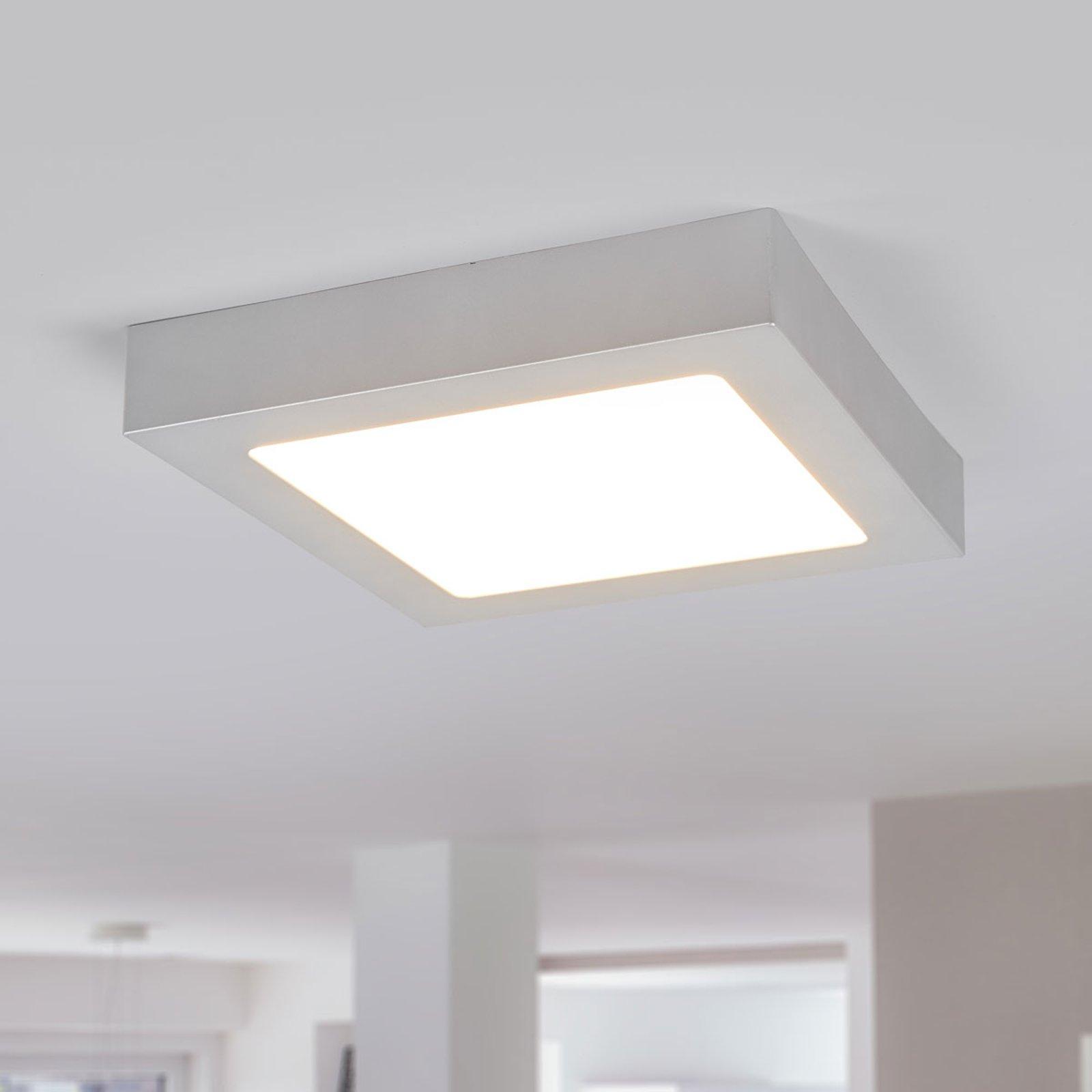 LED-taklampe Marlo sølv 3 000K kantet 23,1cm