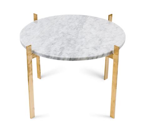 Single deck sofabord – White/brass