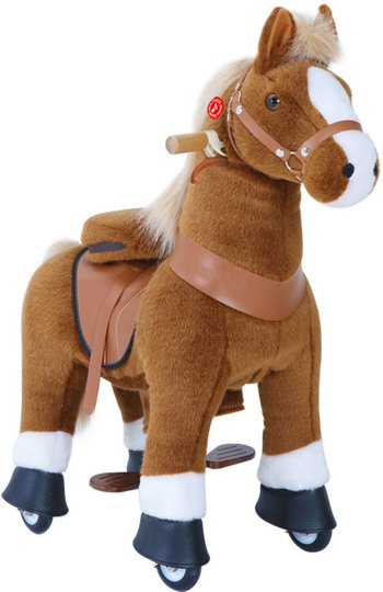 PonyCycle Ride-On Hest Stor Med Broms, Brun/Hvit