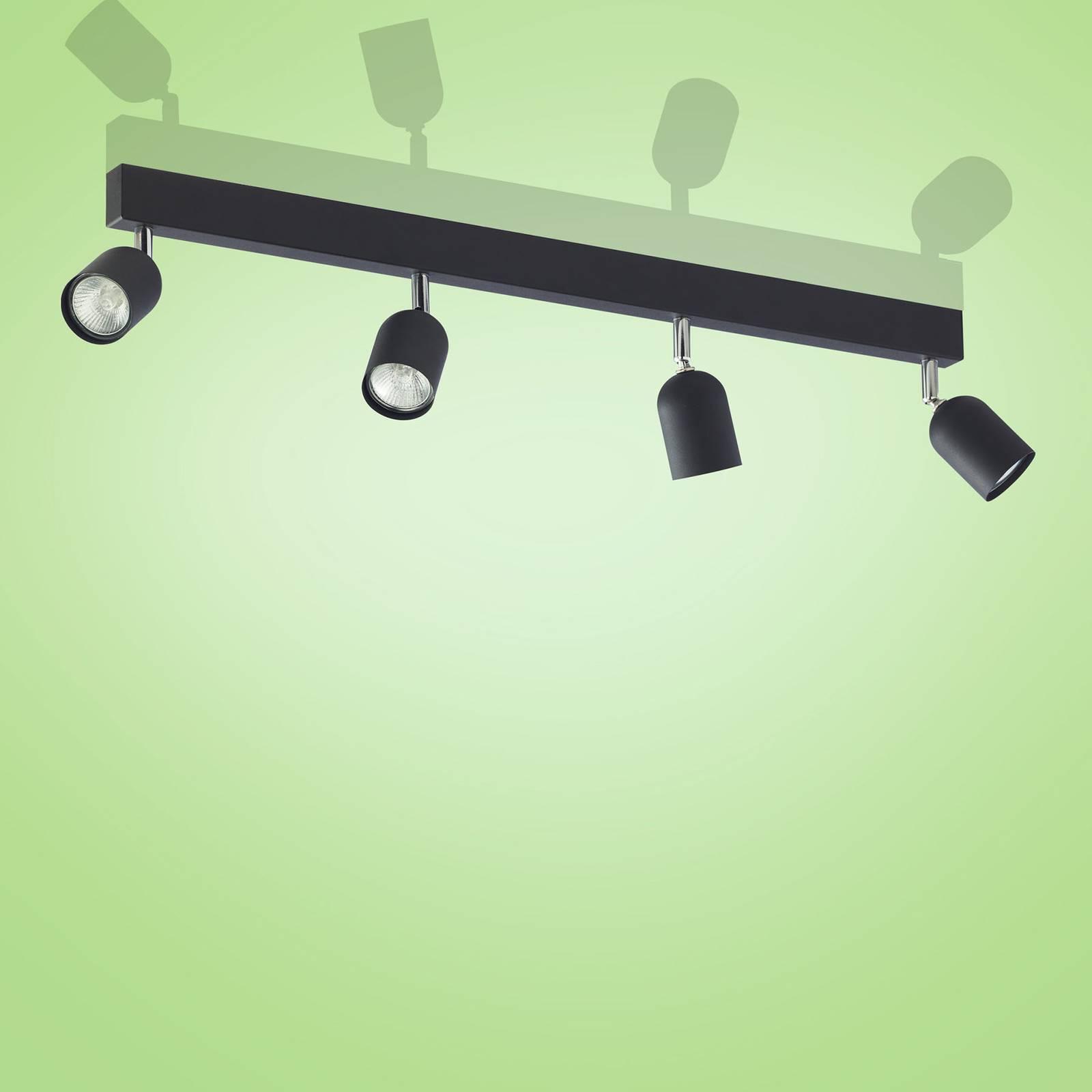 Kattokohdevalo Top, 4-lamppuinen, musta