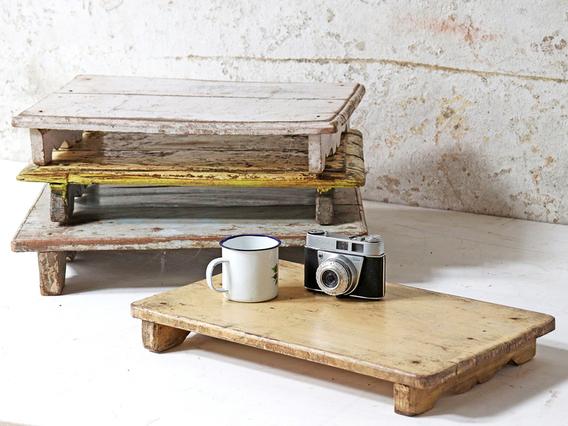 Vintage Wooden Tray - White White