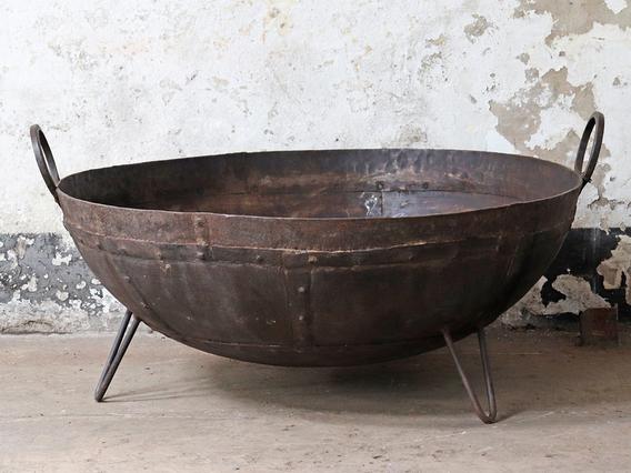 Metal Kadai Fire Bowl - 100CM Brown