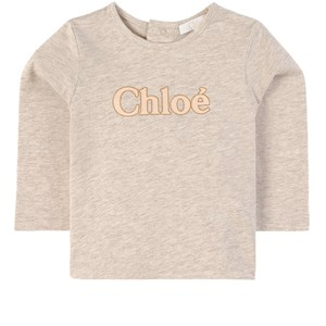 Chloé Glitter Logo Tröja Beige 6 mån