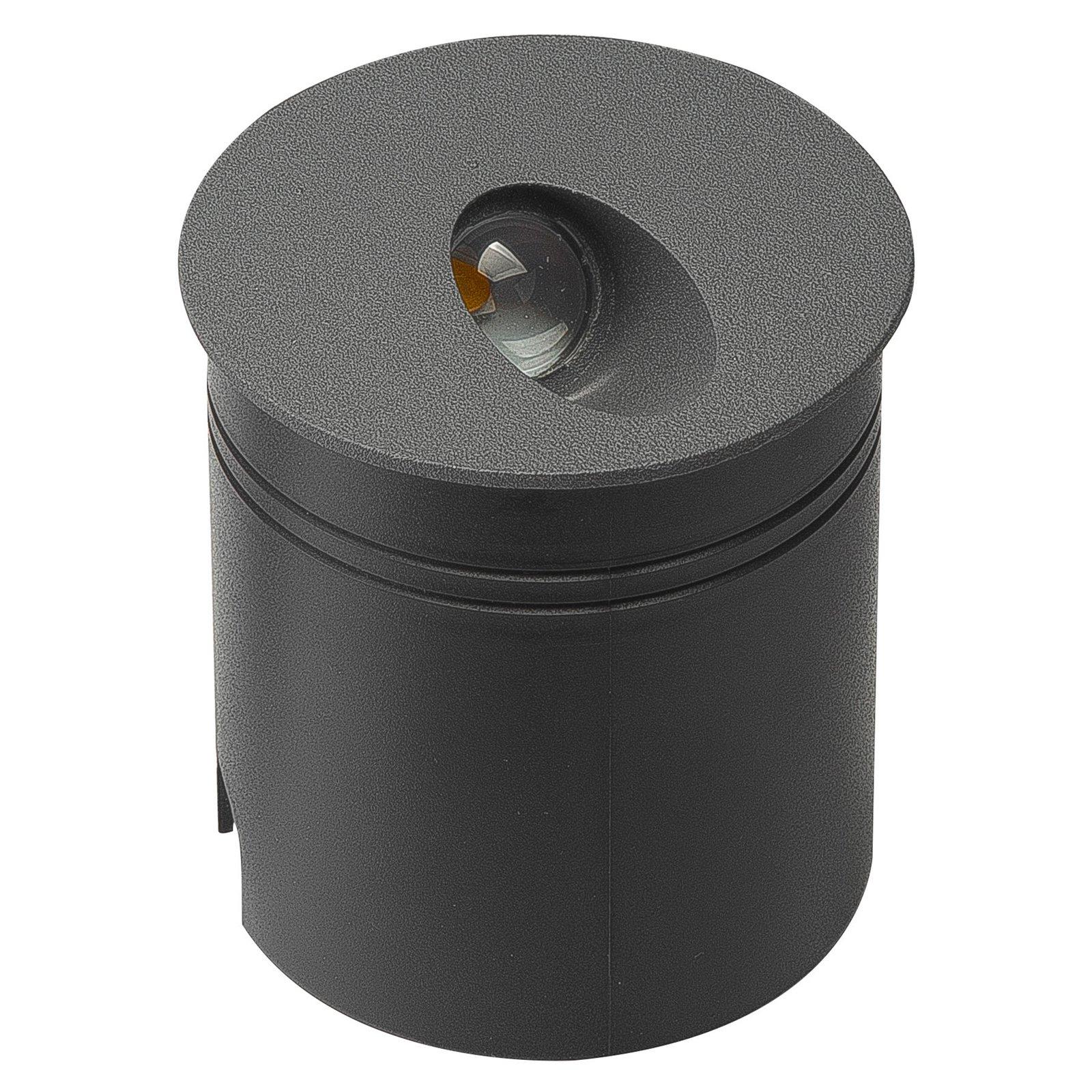 Aspen IP65 LED-innfellingslampe, rund, mørkegrå