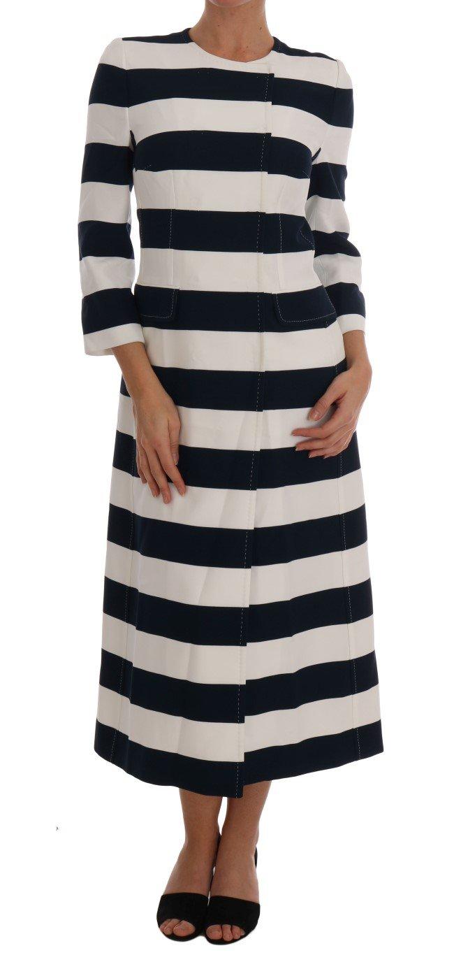 Dolce & Gabbana Women's Striped Stretch Coat Blue DR1344 - IT42 M