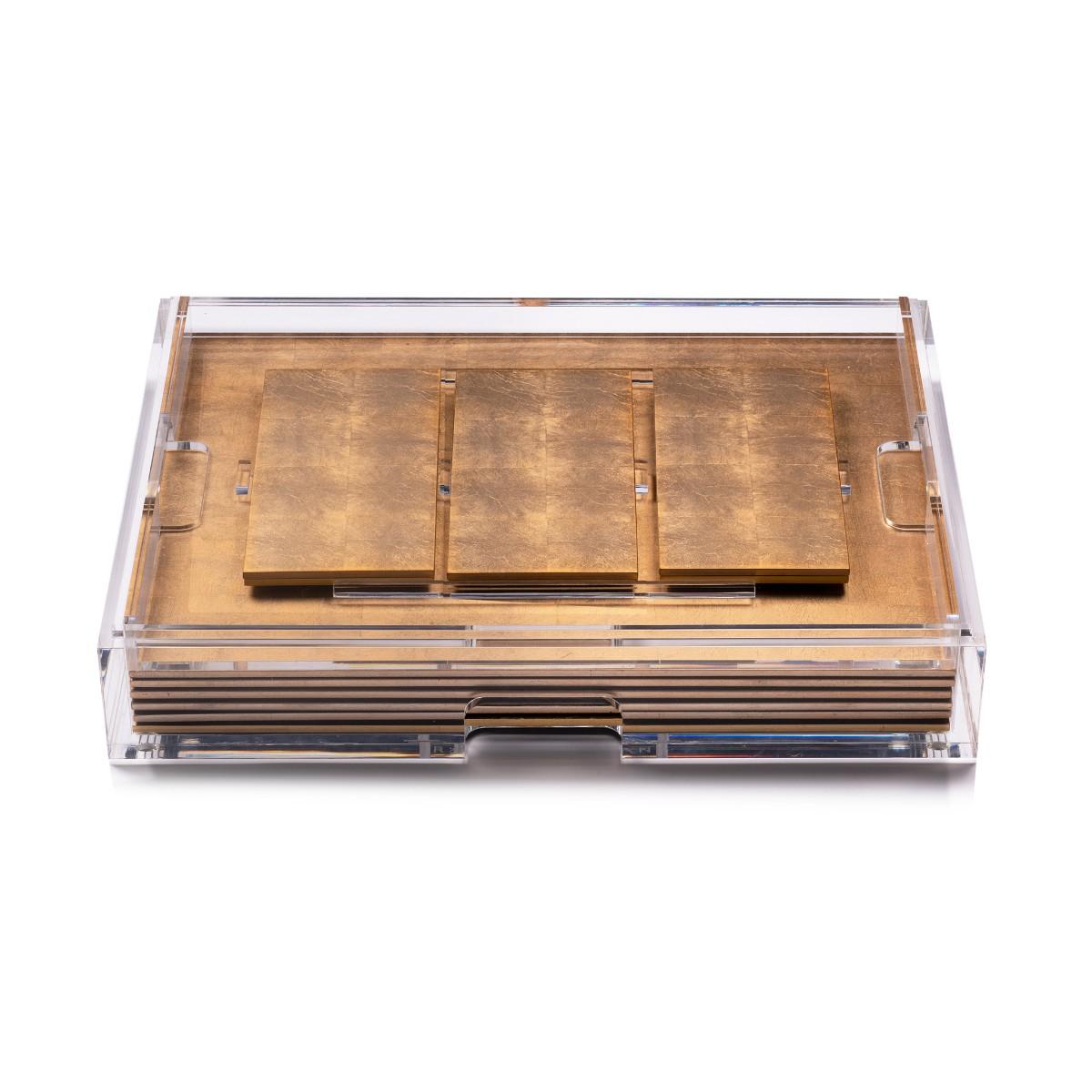 Posh Trading I Clear Grand Matbox I Silver Leaf Matte Gold