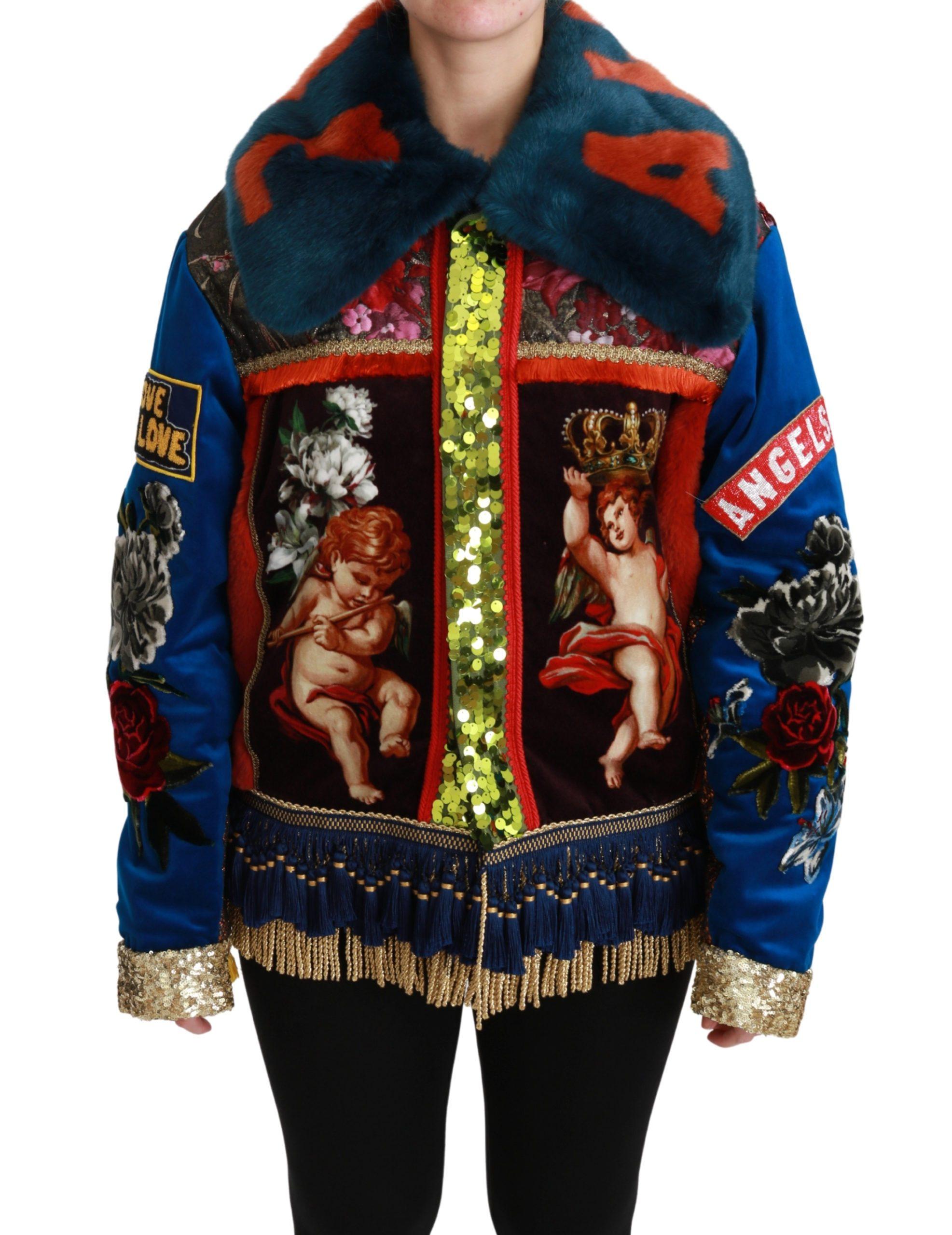 Dolce & Gabbana Women's Angel Floral Sequined Coat Jacket Multicolor JKT2525 - IT40|S