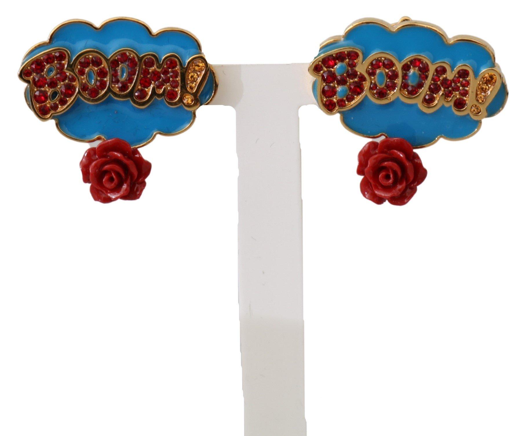 Dolce & Gabbana Women's Brass Rose Crystal Clip-On Earrings Blue SMY7158