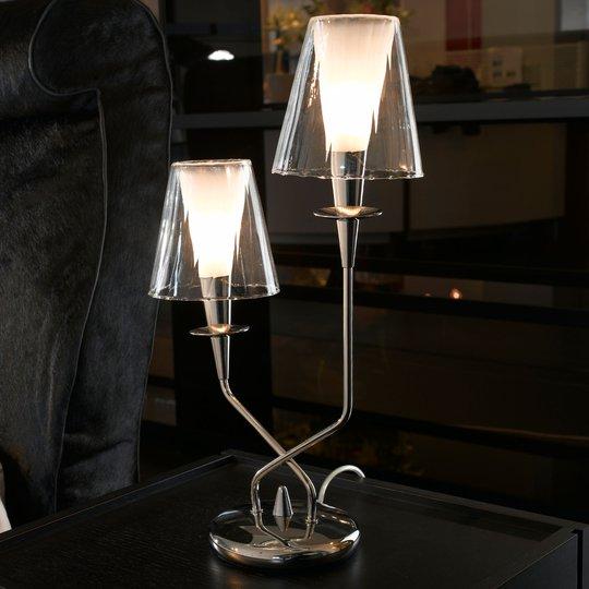 Bordlampe Opera, 2 lyskilder, klare skjermer
