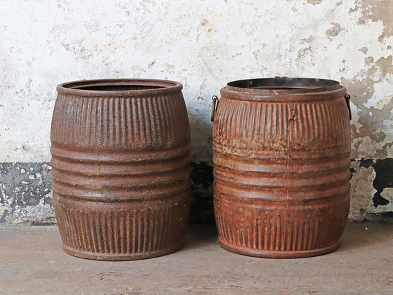 Vintage Metal Barrel – Large Brown