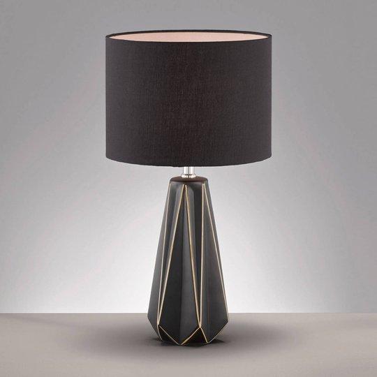 Bordlampe Mono med stoffskjerm og keramisk fot