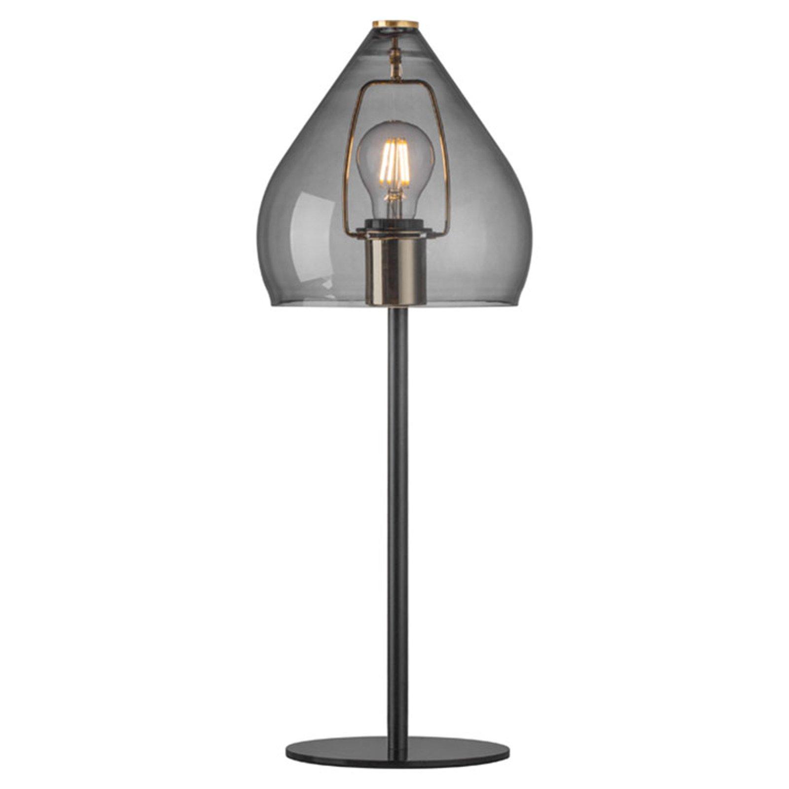 Bordlampe Sence med glasskjerm E27 - røykgrå