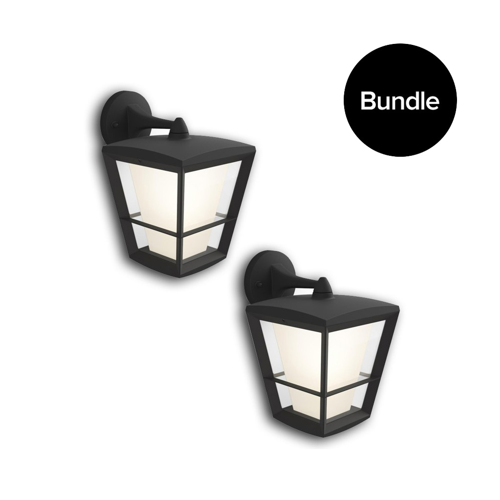 Philips Hue - 2xEconic Down Wall Lantern Outdoor - White & Color Ambiance - Bundle