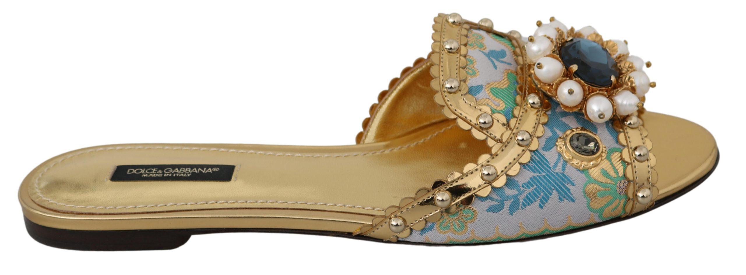 Dolce & Gabbana Women's Crystal Slides Flat Gold LA6554 - EU36/US5.5