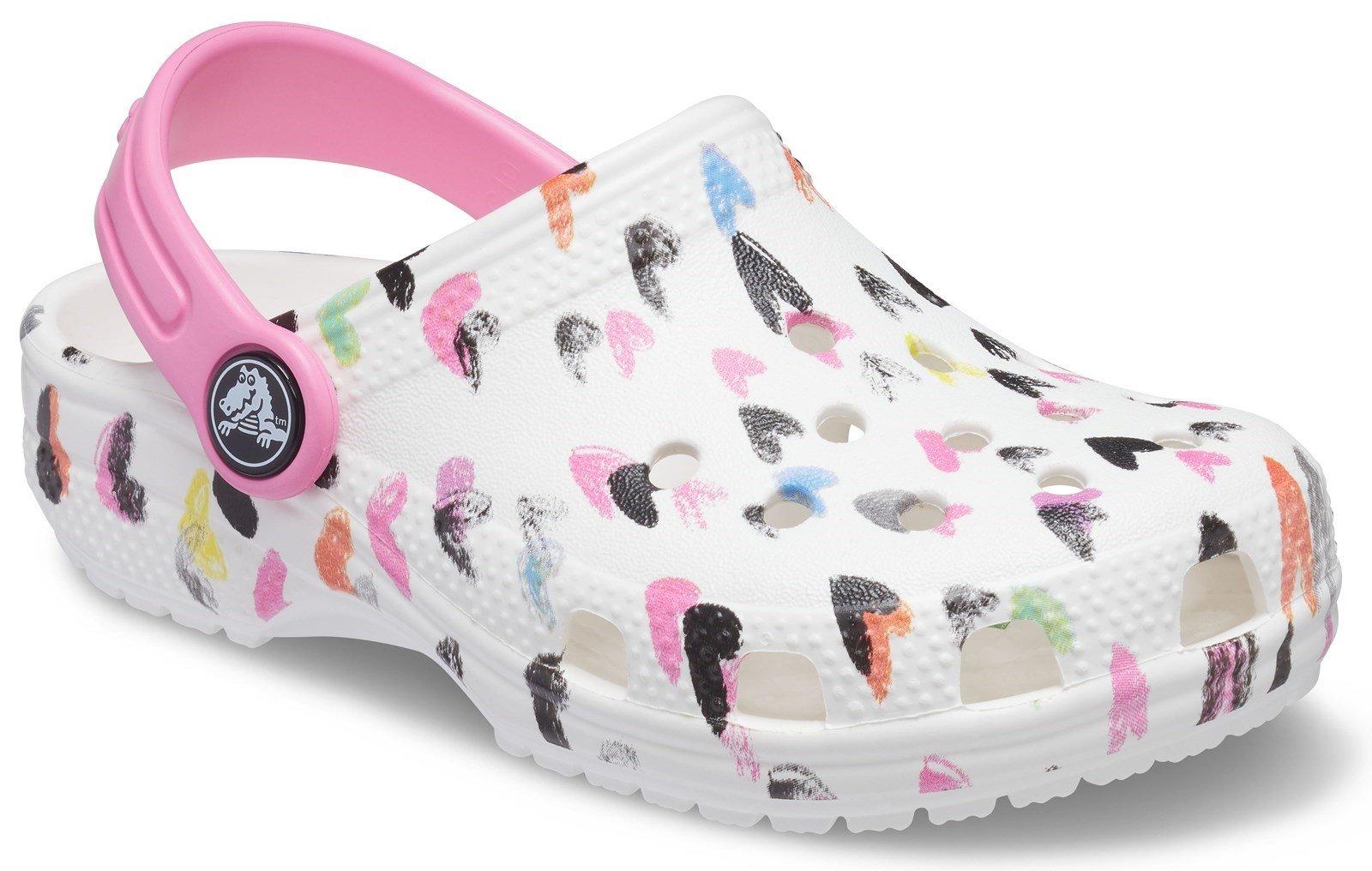 Crocs Kid's Classic Heart Print Clog Sandal White 32079 - White 4