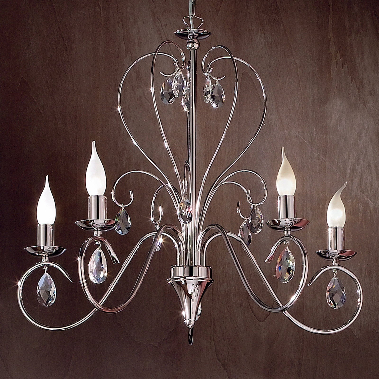 Kattokruunu Fioretto Asfour-kristallia, 5-lamppua