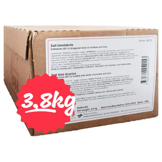 Hel Låda Saltlakrits Lime 3,8kg - 74% rabatt
