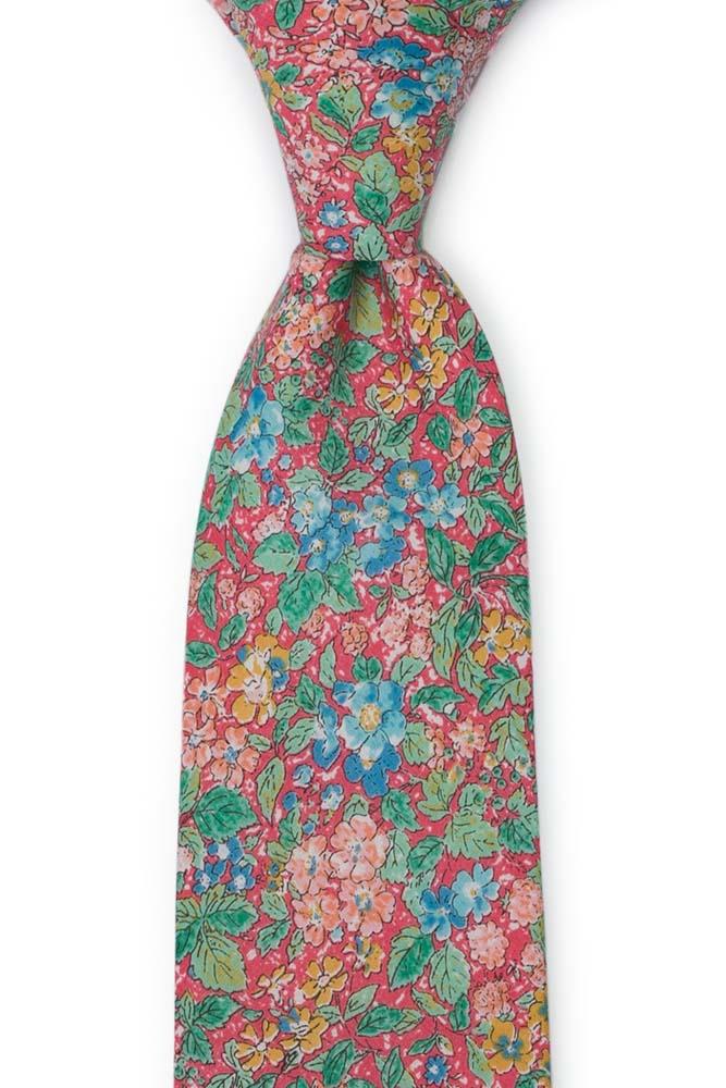 Bomull Slips, Varm rosa med blomster i grønt, rosa & honning, Rosa, Blomster